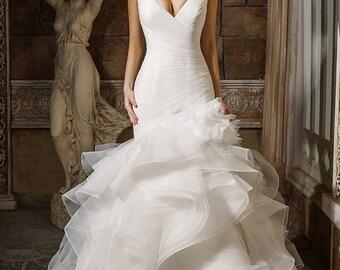 Ruffled Organza Wedding Bridal Dress