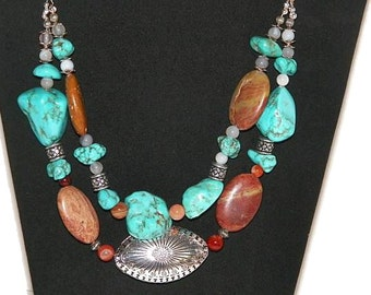 Southwestern Turquoise & Jasper Chunky Necklace, Cowgirl Style with Howlite, Agate and Stamped Silver Pendant. FREE USA Shipping