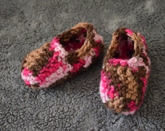 Toddler Multi-pink Crochet Slippers -house shoes