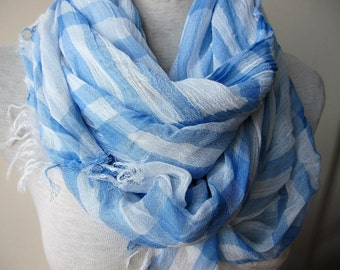 Plaid-blue white scarf woman fashion -checks womens scarf-scarves for woman Istanbul Turkey Turkish - scarf woman fashion - women's scarves