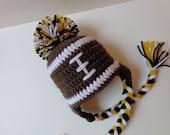 Newborn Crochet Iowa Haweyes Hat Newborn Football Hat Knit Hat Baby Boy Baby Girl Photo prop Black and Gold