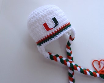 Newborn Crochet Miami Hurricanes Hat Knit Hat Photo Prop Baby boy Baby girl