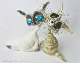 010 Cat Siam toy with wire frame - Amigurumi Crochet Pattern PDF file by Pertseva (Dragon eyes) Etsy