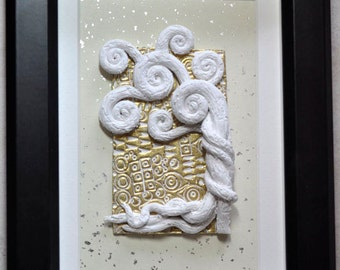 Original Art - Klimt Inspired Tree and Gold in a Shadow Box, Polymer Clay