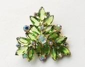 Juliana Rhinestone Brooch,  Green Rhinestone Vintage Brooch,  Confirmed Juliana Jewelry, Delizza & Elster