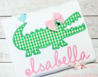Girly Alligator Applique Shirt - Embroidered, Personalized, Girly Gator, Alligator with bow
