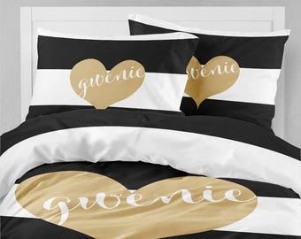heart bedding etsy. Black Bedroom Furniture Sets. Home Design Ideas