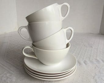 Vintage White Melamine Teacups / Melmac Cups and White Saucers / Mar Crest and Royalon Mismatched Tea Set