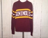 Vintage Seminole Sweater - Florida State - College - Collegiate Wear - FSU - Garnet and Gold - Medium