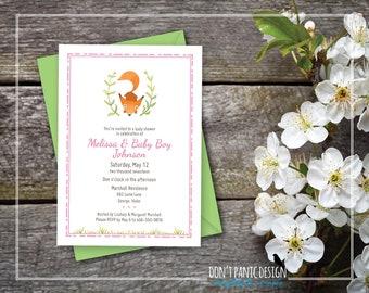 Printable Baby Shower Invitation - Baby Fox Woodland Shower Invitation - Pink Printable Baby Shower Invitation - Baby Girl - 5x7 invitation