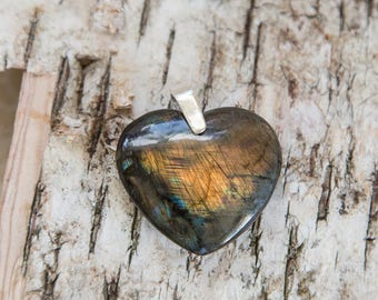 Labradorite heart pendant, orange blue, natural untreated labradorite, purple blue, rainbow flash spectrolite stone, sterling silver