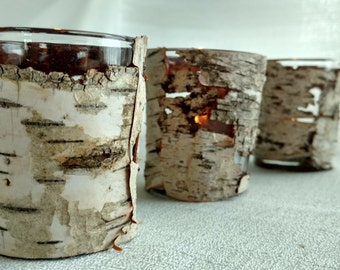 10 Birch Wrapped Candle Holders