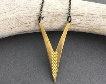 Neptune minimalist brass arrow necklace with gunmetal chain