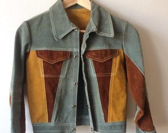 Suede Jacket Multicolor Color Block Womens XS - XXS Mustard, Green, Maroon Vintage