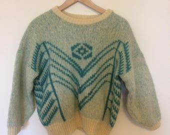 Vintage Cream and Turquoise Sweater Navajo Ethnic Design