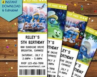 Smurfs Invitations, Smurfs Party Invite, Smurfs Birthday Invitation, Smurfs Invite, Smurfs Ticket Invitations, Smurfs Lost Village Movie