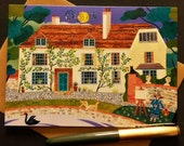 Bloomsbury Group - Vanessa Bell - Charleston Farmhouse - Fine Art Card - Greeting Card - Naive - Sussex - Garden - Painting - Pond - Swan