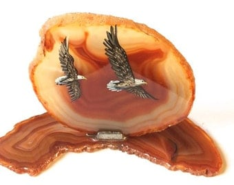Hand Painted Brazilian Agate EAGLES