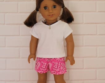 """White T-shirt with Pink Shorts - Dolls clothes for 20"""" Australian Girl doll & 18"""" American Girl type dolls"""