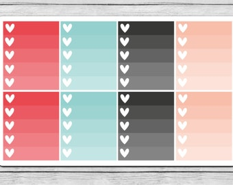 Snow Birds Ombre Heart Checklist Planner Stickers