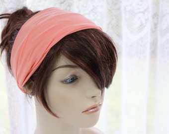 Peach Pink Orange Salmon Turban Head Wrap, Workout Headband, Women's Yoga Headband, Turband, Turban Headband Womens Gift for Her, Gift Ideas