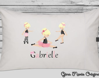 Personalized Pillow Case Pillowcase Ballerina Ballet Pink Blonde Brunette Red Hair Girl Toddler Kids Birthday Christmas Gift Bedding