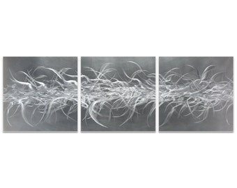 Abstract Metal Art 'Electric Fields Triptych Large' by Nicholas Yust - Expressionist Wall Decor Modern Artwork on Metal or Acrylic