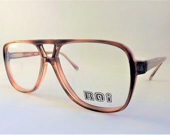Mens Eyeglasses, Geeky Tortoise Shell Aviator Glasses, Square Brown Glasses, Double Bridge Eyeglasses, Flexible Temple Arms, NOS