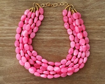 Pink Bead Necklace – Chunky Beaded Necklace Handmade in Pink Beads, Spring 2018 Fashion