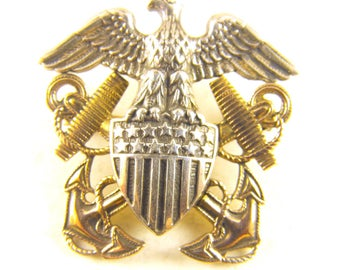US Navy Pin Patriotic Eagle Sterling Silver 10k GF Accents Mid Century Military Memorial Day Patriotic Gifts For Him And Her