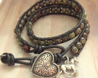 Double Wrap Leather Beaded Bracelet with Jasper Beads, Horse Charm & Southwestern Button, Boho Cowgirl, Equestrian, Gift for Her, Gemstone