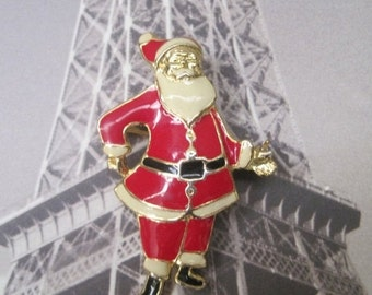 Santa Claus Brooch, Vintage Jewelry, Christmas Brooch
