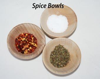 "5, 2.5"" Spice Bowls Wooden- Kitchen Accessories, Toy Kitchen, Kids Woodn Toys, Jewlery Bowl, Pretend Play, Condiment Bowl"