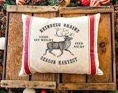 Christmas Pillow Cover, Reindeer Grains, Feed sack, 16x20