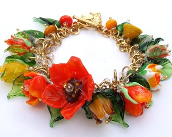 Handmade Lampwork Glass Bracelet, Romantic Floral Bracelet, Orange and Green, Festive and Fun Flowers Bracelet, Made to Order