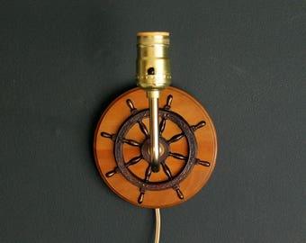 Vintage Ship Wheel Wall Sconce Mid Century Bedside Lamp With Decorative Scroll Work