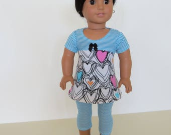 "Made To Fit Like American Girl Doll Clothes; 18"" Doll Leggings with Cotton Knit Dress; Knit Dress for American Girl Doll; Dress and Leggings"