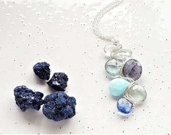 Sterling Silver, Moss Aquamarine, Labradorite, Sleeping Beauty Turquoise & Kyanite Woven Necklace