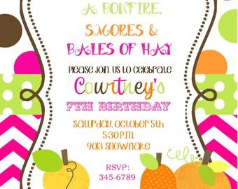 12 Pumpkin Birthday party Invitations with envelopes - Fall- Halloween-hayride- bonfire-any age