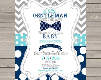 12 Little Gentleman Baby Shower invitations with envelopes -bowtie-tie- ANY COLORS