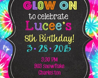 Glow Neon Tie Dye Peace Love Party Birthday invitations with envelopes   - groovy- any colors