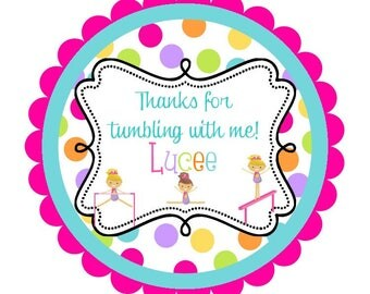 Gymnastics Round Labels Stickers for party favors, gift tags, or address labels- tumbling- gymnast