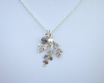 Oak Leaf , Pinecone drop Necklace, Oak Leaf and Pinecone Jewelry