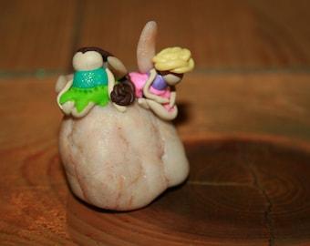 Two Fairies Sitting On Rock. Fairy Garden Accessories. Craft supplies. Miniature toys.