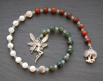 Magical Faerie Pagan Prayer Beads/Witch's Ladder/Witches' Ladder. Pagan Druid Wicca Witch Faery Fairy Agaric Toadstool Celtic Nature Sprite