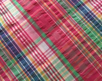 Robert Kaufman Cape Code Seersucker Hot Pink, Mint, Blue Plaid Fabric
