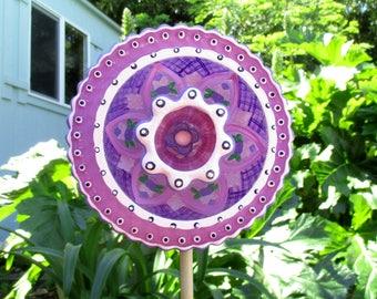 Glass Flower Garden Art - hand painted Purple, Pink & Magenta - Outdoor Garden Decoration, lawn ornament, Outside Decor, Glass plate flower