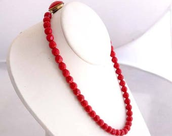 Vintage Bright Red Faceted Round Glass Bead Necklace