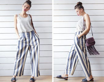 STRENESSE Vintage blue white vertical striped silk cotton relaxed summer wide leg palazzo short capris culottes pants M