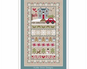 INSTANT DOWNLOAD Home For Christmas Cross Stitch PDF Chart